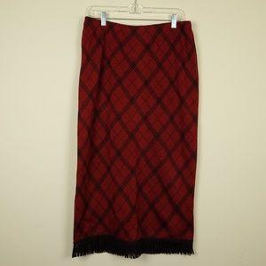Nina Leonard Plaid Fringe Skirt size M